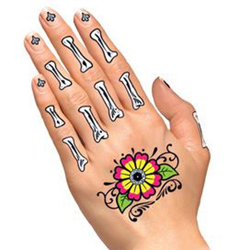 Glitter Day of the Dead Floral Hands Temporary Tattoo image number null