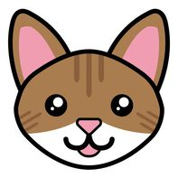 Brown Tabby Cat Face Temporary Tattoo