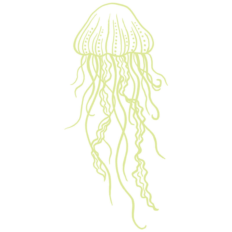 White Ink Glow-in-the-dark Jelly Fish Temporary Tattoo image number null