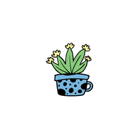 Agave Cactus in Blue Teacup Temporary Tattoo