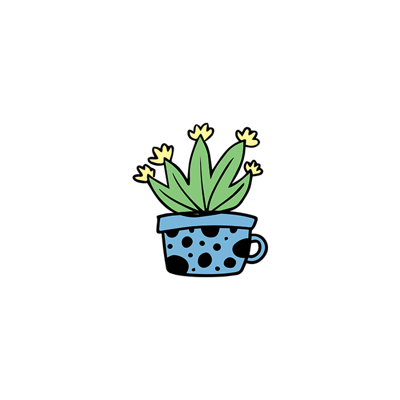 Agave Cactus in Blue Teacup Temporary Tattoo image number null
