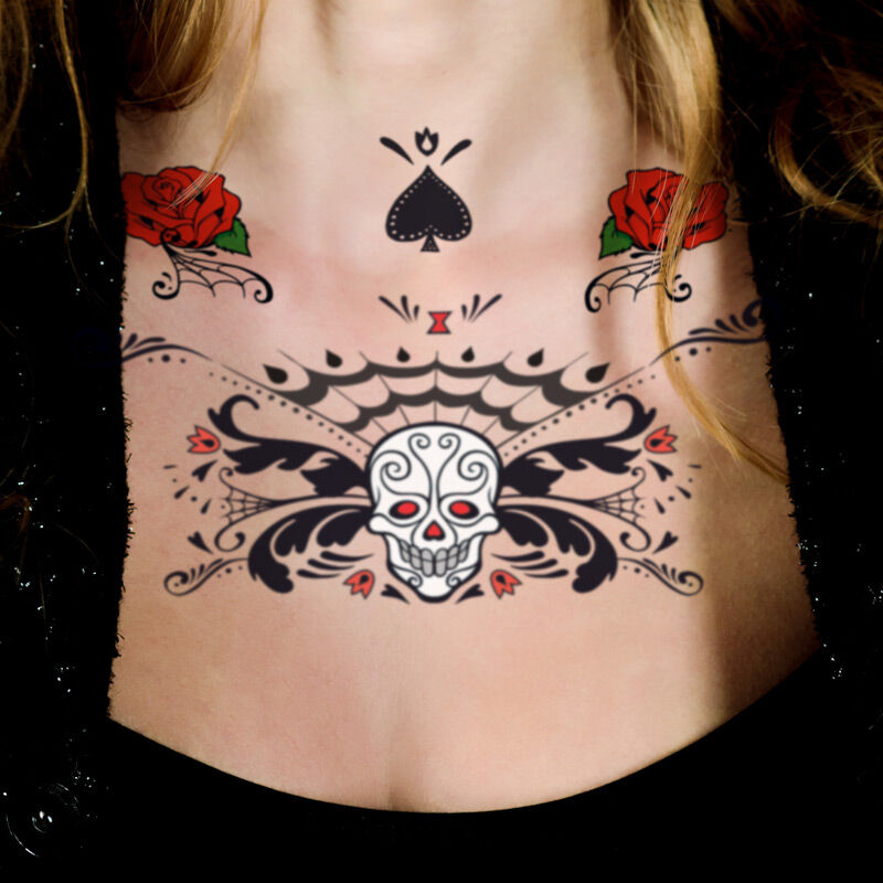 Roses & Sugar Skull Chest Accessory Costume Tattoo image number null