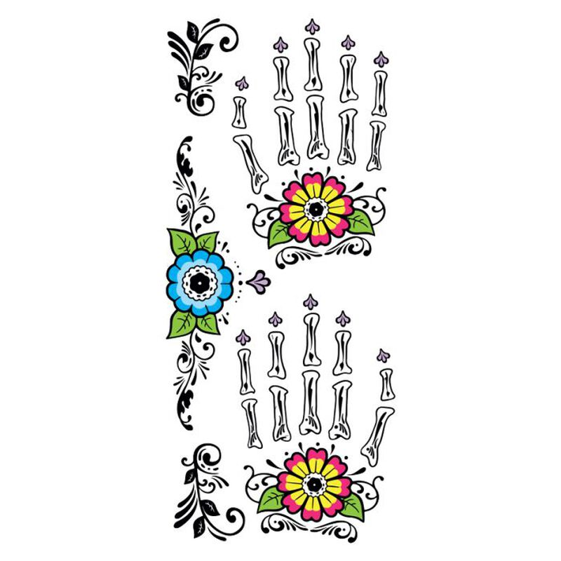Day of the Dead Floral Hand Temporary Tattoo image number null
