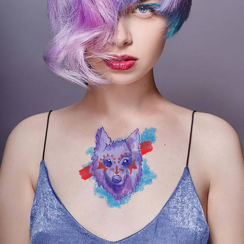 Watercolor Wolf Warrior Temporary Tattoo image number null