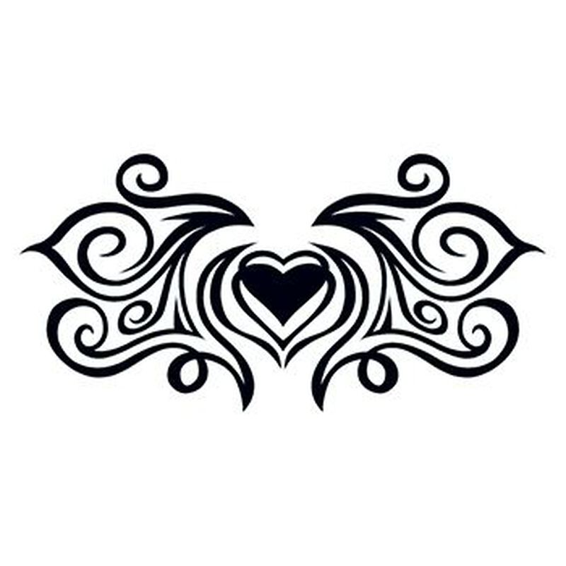 Tribal Heartstrings Lower Back Temporary Tattoo image number null