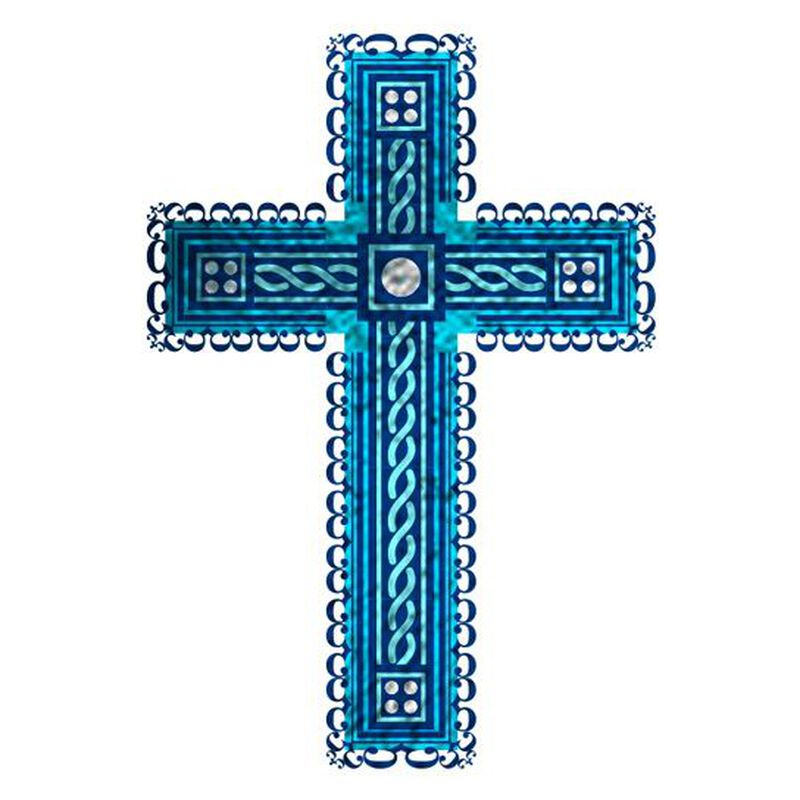 Fancy Blue Cross Temporary Tattoo image number null