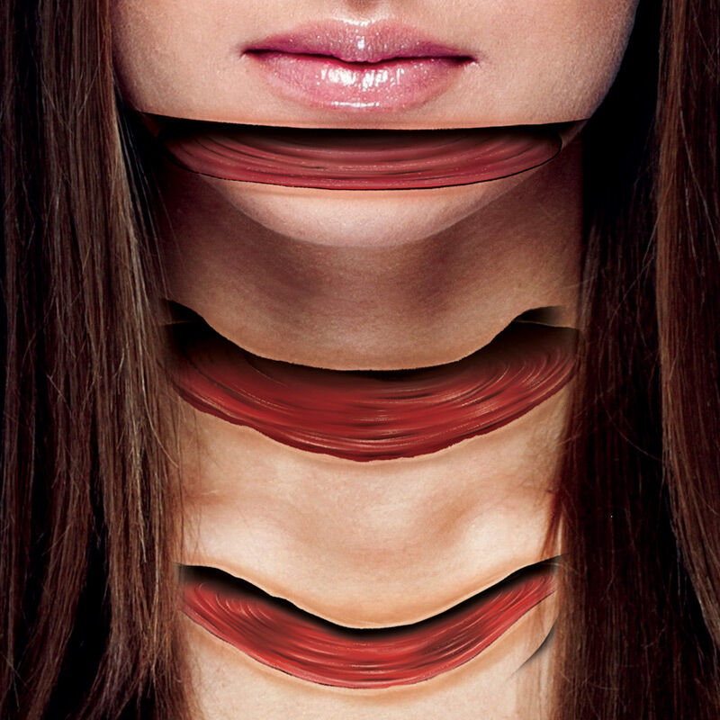 Sliced Face Optical Illusion Extension Costume Tattoo image number null