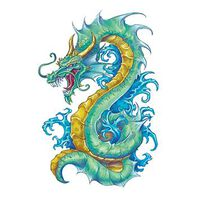Teal Serpentine Dragon Temporary Tattoo