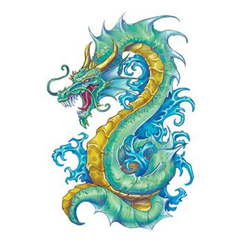 Teal Serpentine Dragon Temporary Tattoo image number null