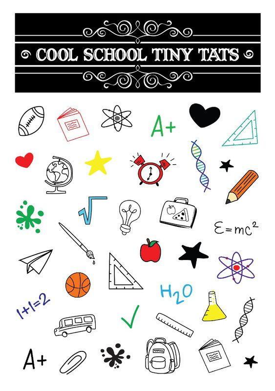 Cool School Tiny Tats Temporary Tattoos image number null