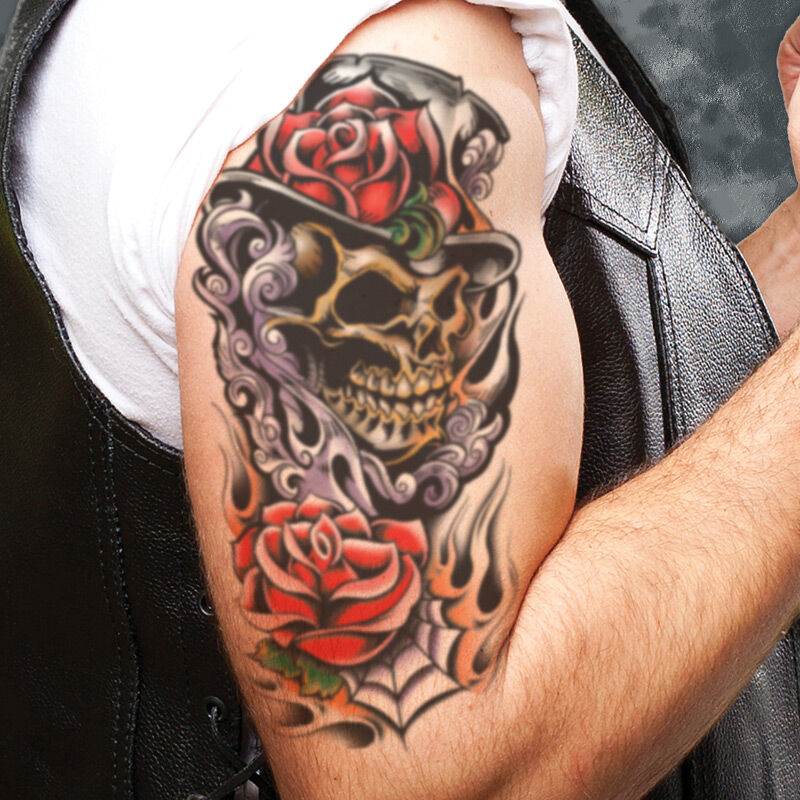 Skull & Top Hat Sleeve Accessory Costume Tattoo image number null