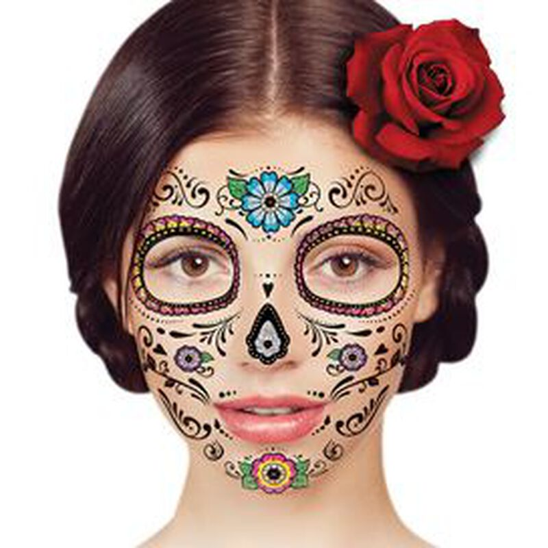Glitter Day of the Dead Floral Face Temporary Tattoo image number null