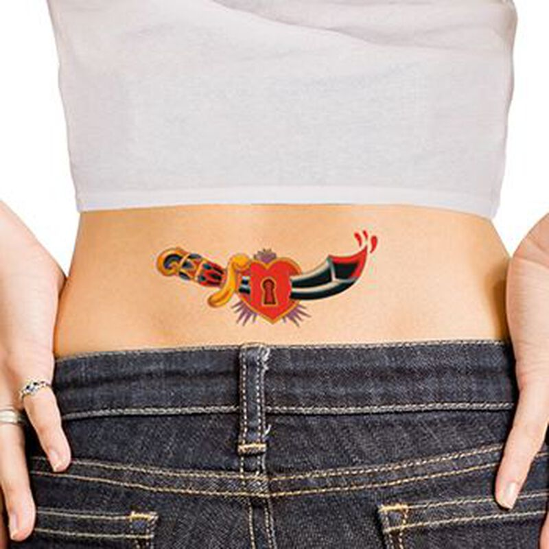Lock and Dagger Lower Back Temporary Tattoo image number null