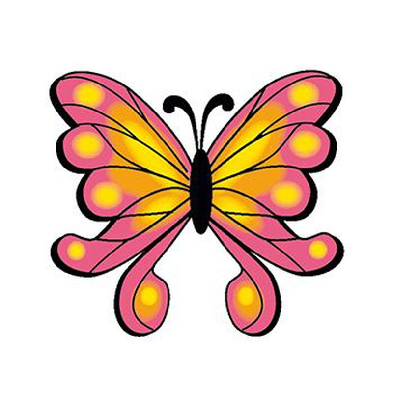 Orange and Pink Butterfly Temporary Tattoo image number null