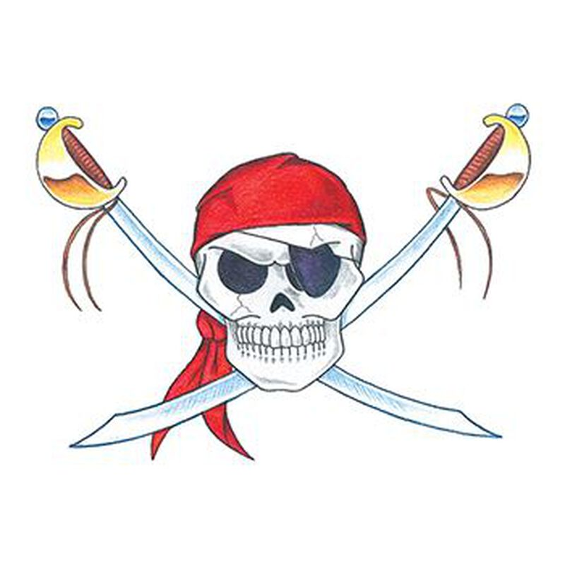 Traditional Pirate Skull Temporary Tattoo image number null