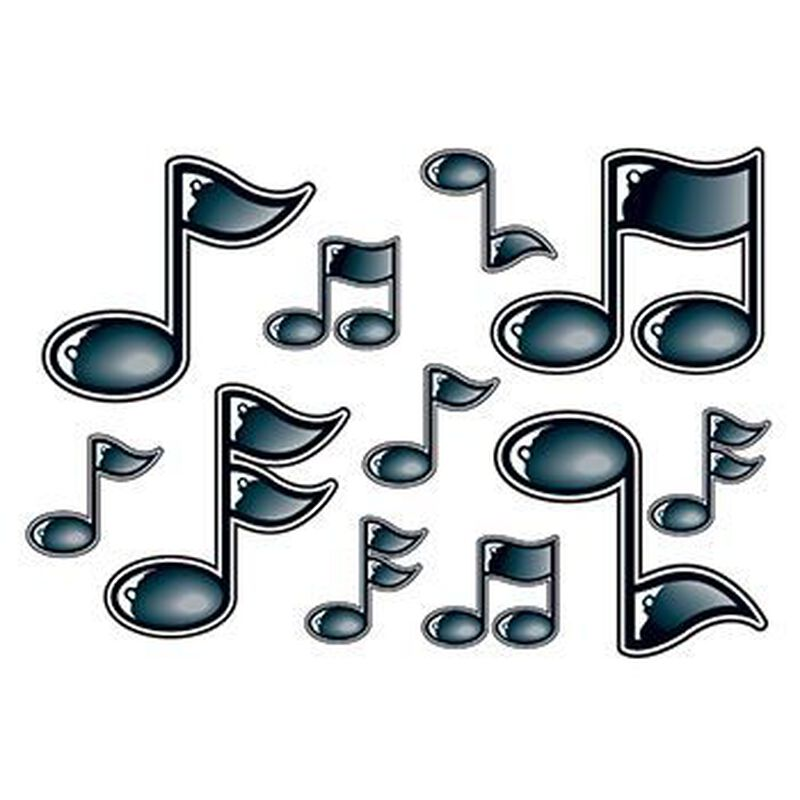 Black Dimensional Music Note Temporary Tattoo image number null