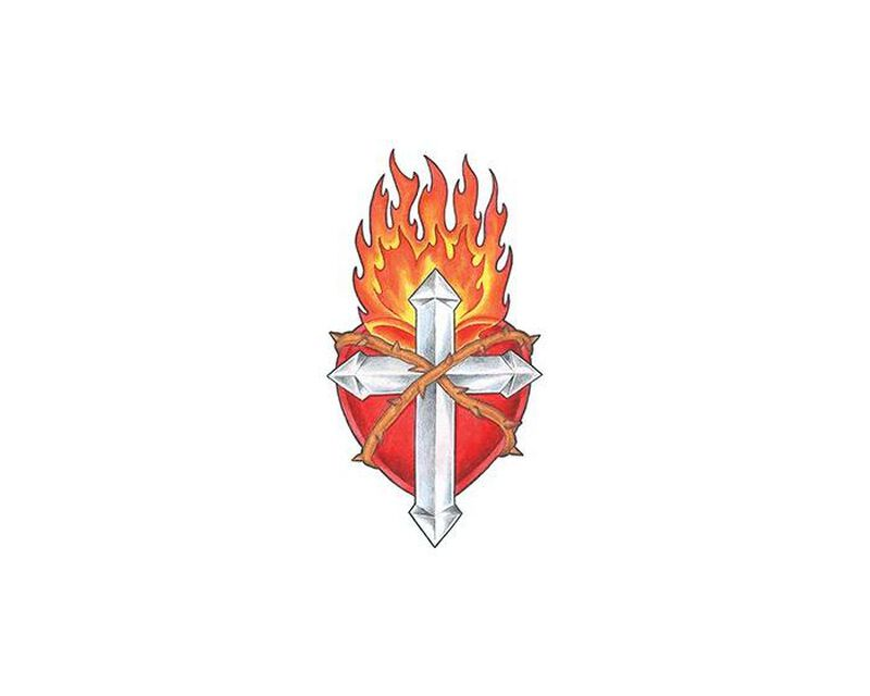 Flaming Cross and Shield Temporary Tattoo image number null