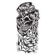 Black Grim Reaper Skull Sleeve Temporary Tattoo