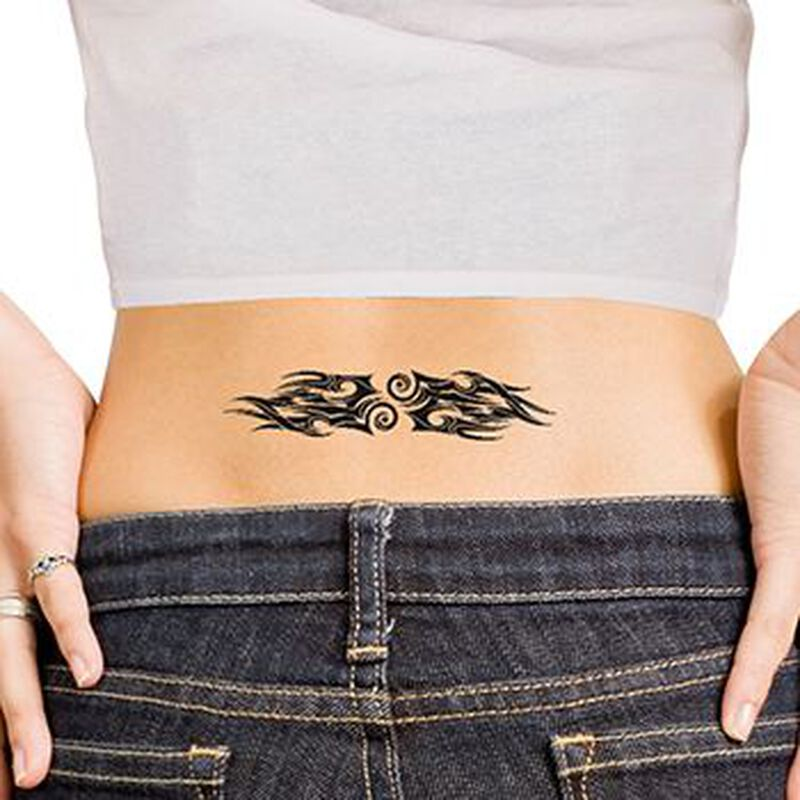 Tribal Flames Lower Back Temporary Tattoo image number null