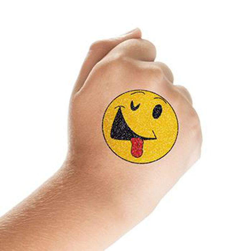 Glitter Smiley Face with Tongue Out Temporary Tattoo image number null