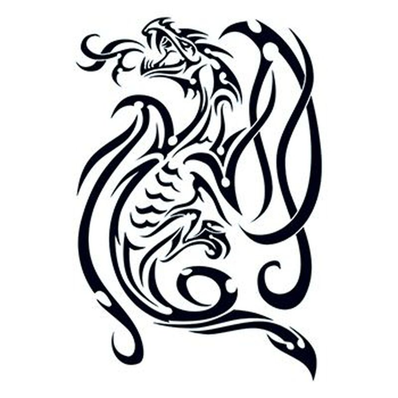 Tribal Smokey Dragon Temporary Tattoo image number null