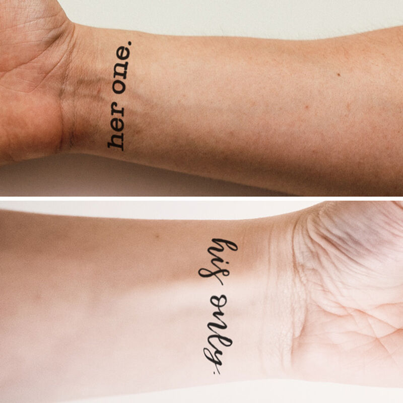 Her One and His Only Couples Temporary Tattoo image number null