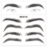 Men's Black Eyebrow Temporary Tattoos