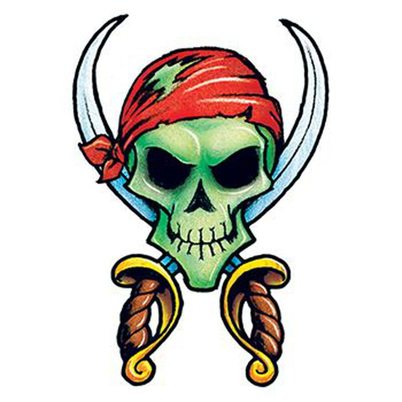 Vintage Pirate Skull and Crossbones Temporary Tattoo image number null
