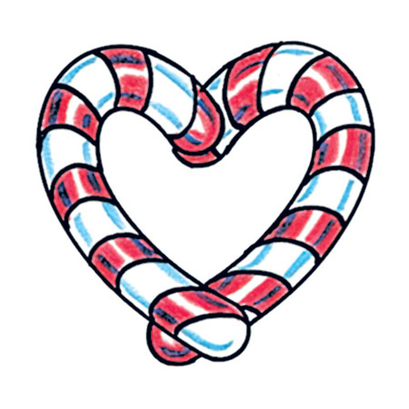 Heart Candy Cane Temporary Tattoo image number null