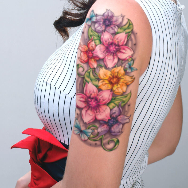 Floral Sleeve Accessory Costume Tattoo image number null