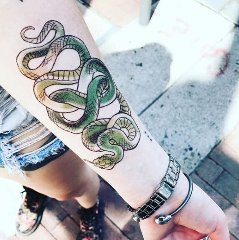 Infinity Snake Small Temporary Tattoo image number null