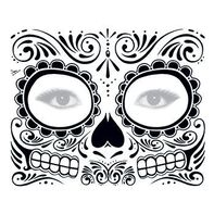 Day of the Dead: Black Skull Face Temporary Tattoo