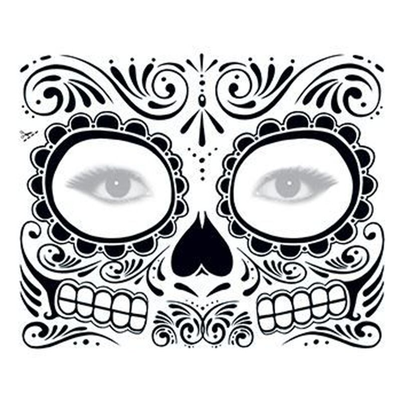 Day of the Dead: Black Skull Face Temporary Tattoo image number null