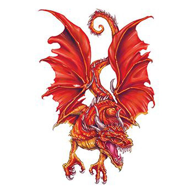 Flaming Red Dragon Temporary Tattoo image number null