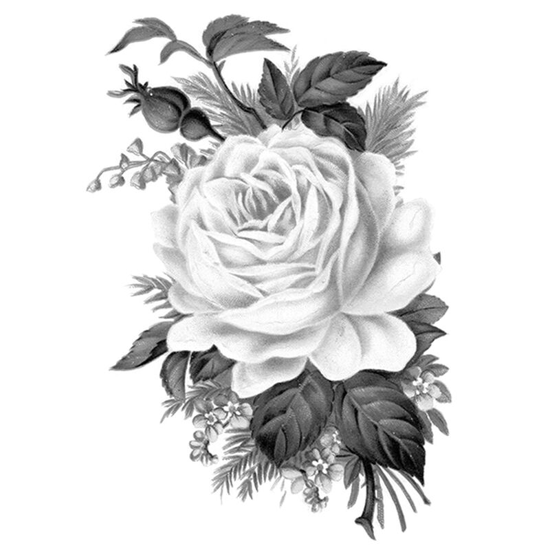 Gray Single Rose Temporary Tattoo image number null
