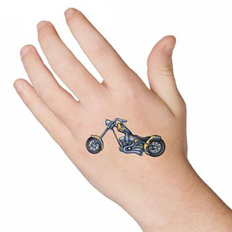 Chopper Motorcycle Temporary Tattoo image number null