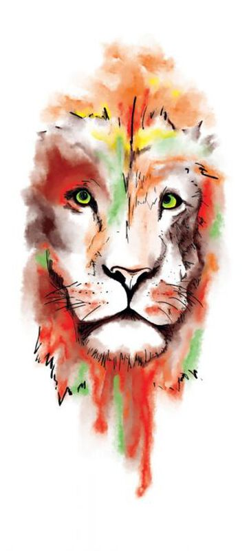 Watercolor Lion Face Sleeve Temporary Tattoo image number null