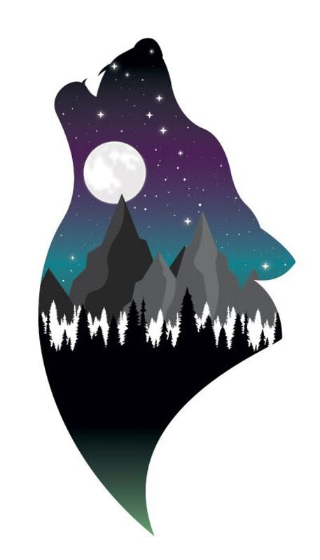 Wolf Landscape Temporary Tattoo image number null