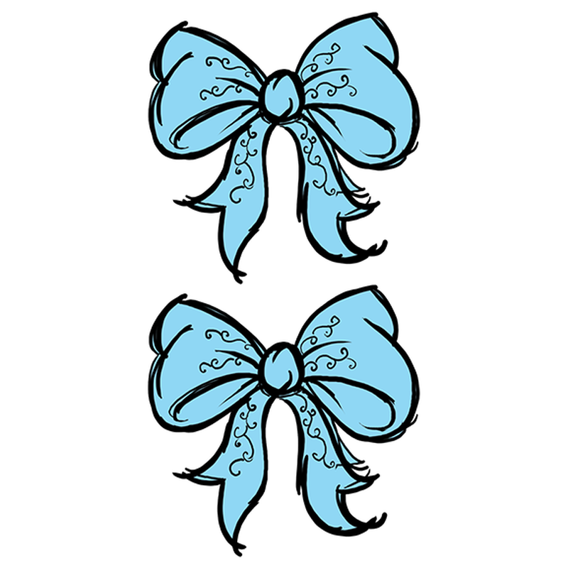 Baby Blue Bow Temporary Tattoos image number null