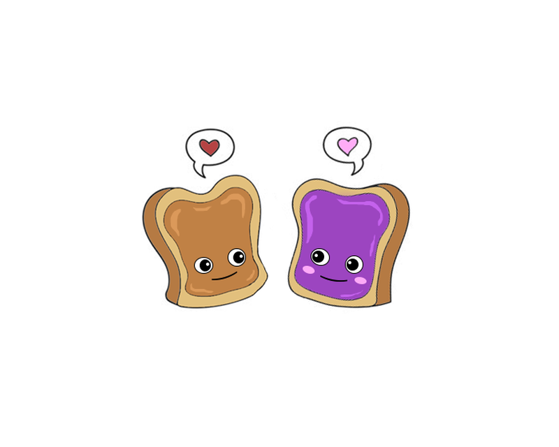 Peanut Butter & Jelly Couples Temporary Tattoo image number null