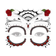 Day of the Dead Red Rose Temporary Tattoo