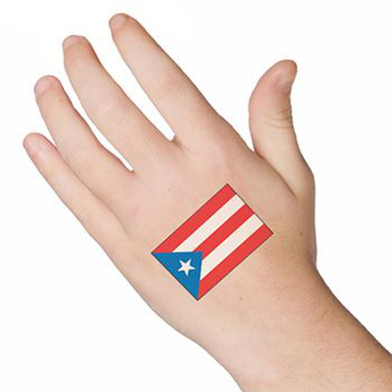 Puerto Rico Country Flag Temporary Tattoo image number null