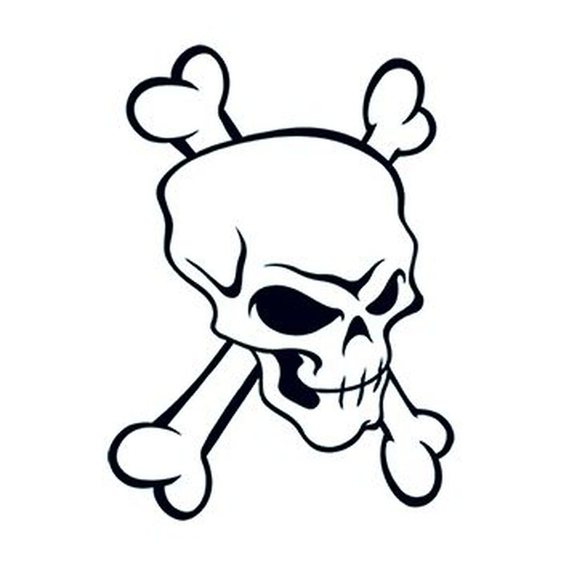 Modern Skull and Crossbones Temporary Tattoo image number null