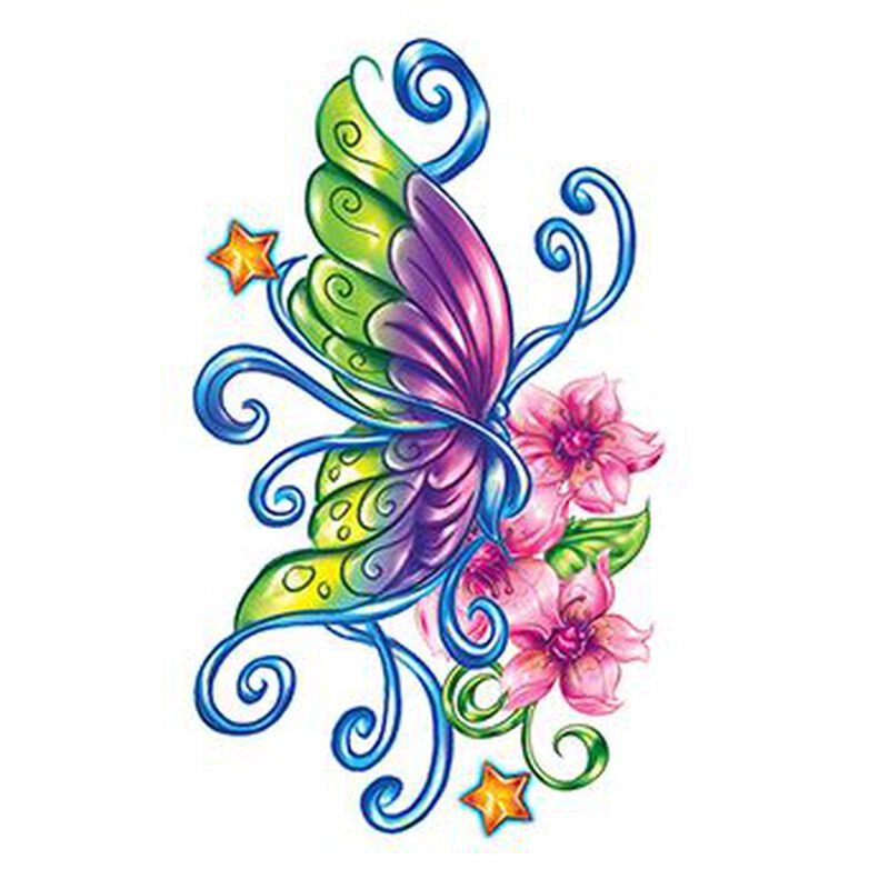 Flirty Butterfly with Stars Temporary Tattoo image number null