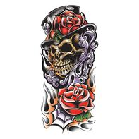 Grim Reaper Colored Skull Temporary Tattoo