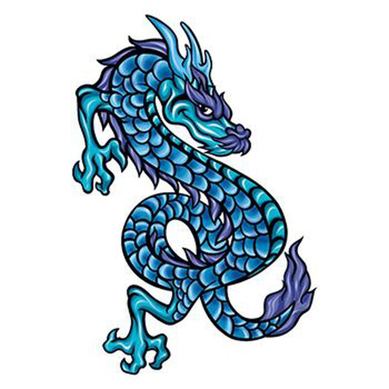 Mythical Blue Scaly Dragon Temporary Tattoo image number null
