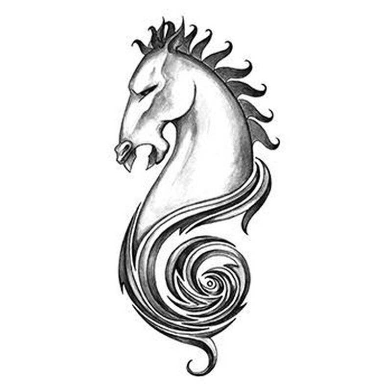 Iron Tribal Horse Temporary Tattoo image number null