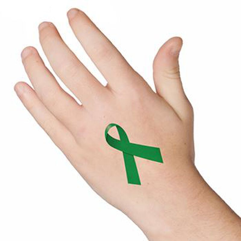 Green Awareness Ribbon Temporary Tattoo image number null