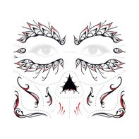 Day of the Dead Red Face Temporary Tattoo
