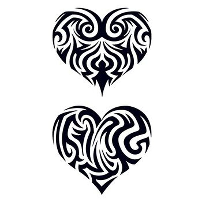 Tribal Filled In Hearts Temporary Tattoo image number null
